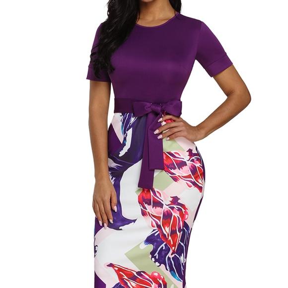 Purple Print Midi Dress